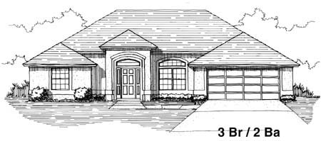 House Plan 53248 with 3 Beds, 2 Baths, 2 Car Garage Front Elevation