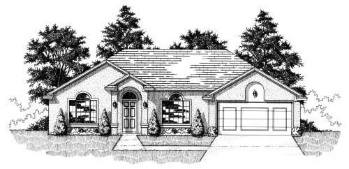 House Plan 53249 with 3 Beds, 2 Baths, 2 Car Garage Front Elevation