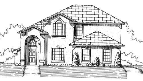 House Plan 53367 with 4 Beds, 3 Baths, 2 Car Garage Elevation