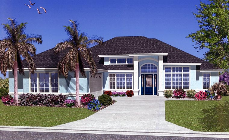 House Plan 53423 with 5 Beds, 2 Baths, 2 Car Garage Front Elevation