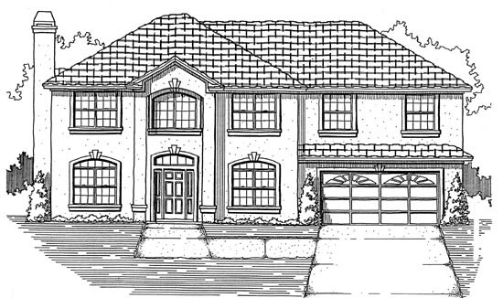 House Plan 53478 with 5 Beds, 2 Baths, 2 Car Garage Elevation