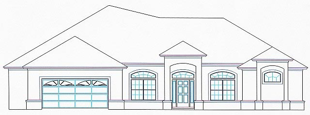 House Plan 53529 with 5 Beds, 3 Baths, 2 Car Garage Elevation