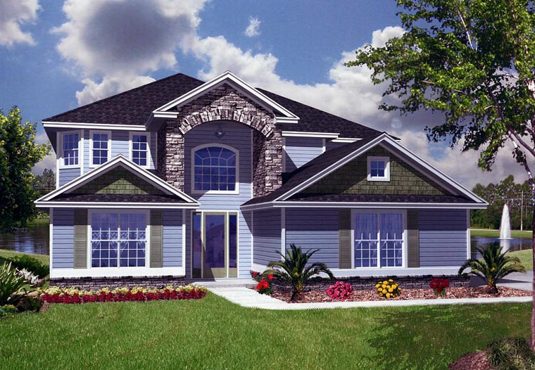 House Plan 53556 with 5 Beds, 5 Baths, 2 Car Garage Front Elevation