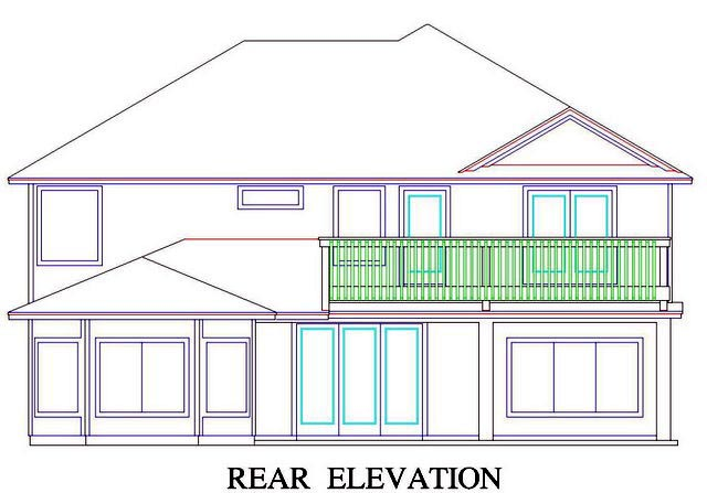 House Plan 53556 with 5 Beds, 5 Baths, 2 Car Garage Rear Elevation