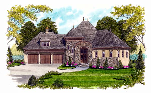 European House Plan 53719 with 4 Beds, 4 Baths, 3 Car Garage Elevation