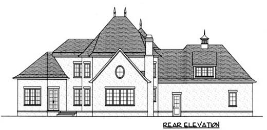 European House Plan 53719 with 4 Beds, 4 Baths, 3 Car Garage Rear Elevation
