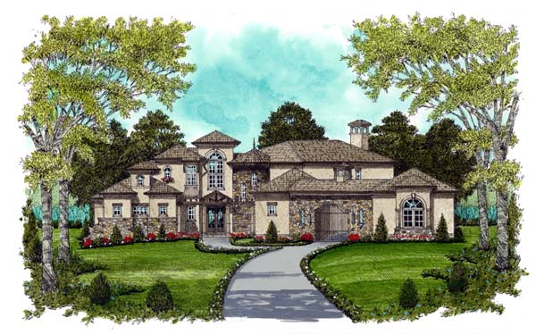 Mediterranean House Plan 53734 with 5 Beds, 6 Baths, 4 Car Garage Elevation