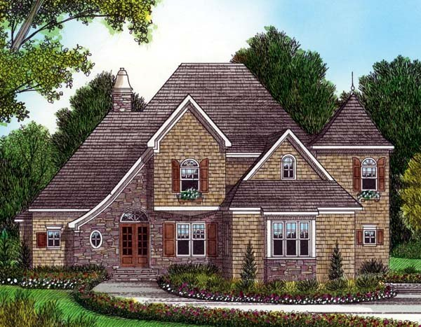 House Plan 53797 with 4 Beds, 4 Baths, 3 Car Garage Elevation