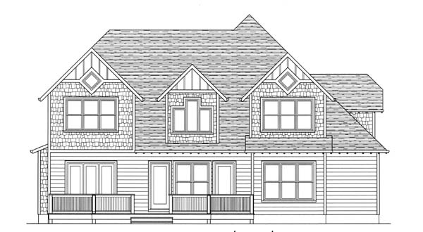 Victorian House Plan 53813 with 4 Beds, 4 Baths, 2 Car Garage Rear Elevation
