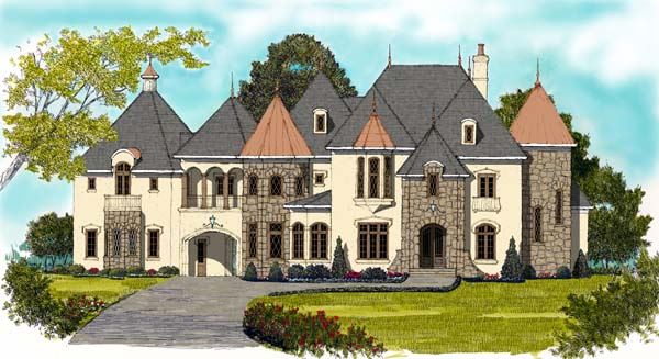 European House Plan 53819 with 6 Beds, 7 Baths, 2 Car Garage Elevation