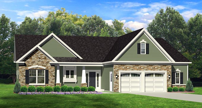 Ranch House Plan 54003 with 3 Beds, 2 Baths, 2 Car Garage Elevation