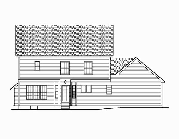Country, Traditional House Plan 54030 with 4 Beds, 3 Baths, 2 Car Garage Rear Elevation