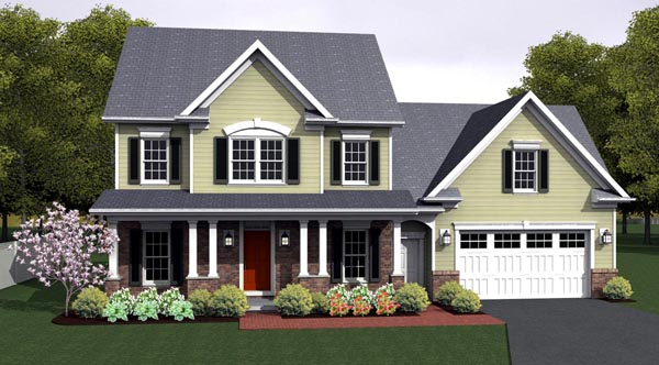 Traditional House Plan 54064 with 3 Beds, 2 Baths, 2 Car Garage Elevation