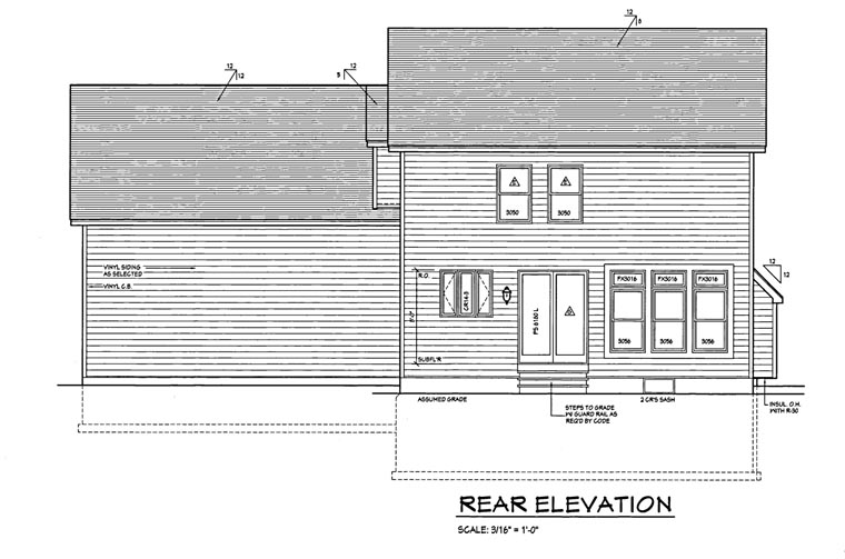 Traditional House Plan 54064 with 3 Beds, 2 Baths, 2 Car Garage Rear Elevation