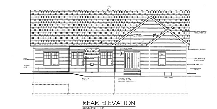 Ranch, Traditional House Plan 54066 with 3 Beds, 3 Baths, 2 Car Garage Rear Elevation