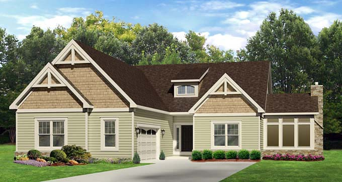 Ranch House Plan 54069 with 3 Beds, 3 Baths, 2 Car Garage Elevation