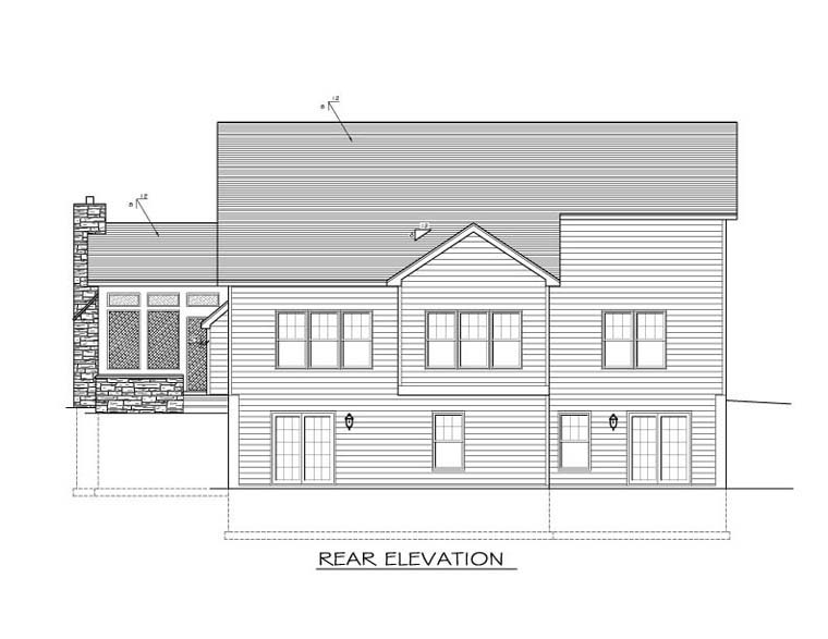 Ranch House Plan 54069 with 3 Beds, 3 Baths, 2 Car Garage Rear Elevation