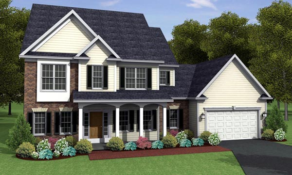 Traditional House Plan 54082 with 4 Beds, 3 Baths, 2 Car Garage Elevation