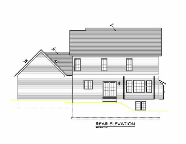 Traditional House Plan 54082 with 4 Beds, 3 Baths, 2 Car Garage Rear Elevation