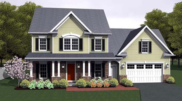Country, Farmhouse, Southern House Plan 54095 with 3 Beds, 3 Baths, 2 Car Garage Elevation