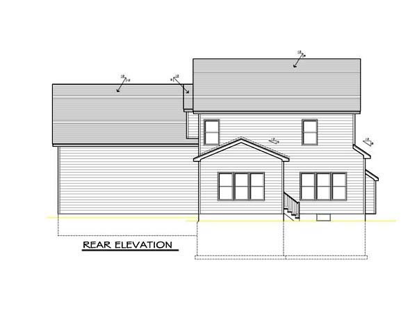 Country, Farmhouse, Southern House Plan 54095 with 3 Beds, 3 Baths, 2 Car Garage Rear Elevation