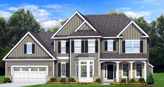 Traditional House Plan 54138 with 4 Beds, 3 Baths, 2 Car Garage Front Elevation