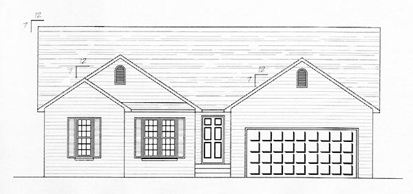 One-Story, Traditional House Plan 54433, 2 Car Garage Elevation