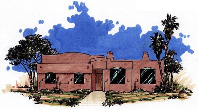 Santa Fe, Southwest House Plan 54606 with 3 Beds, 2 Baths, 2 Car Garage Elevation