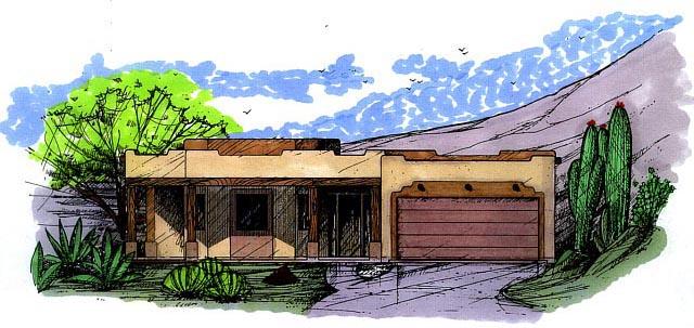 Santa Fe, Southwest House Plan 54607 with 3 Beds, 2 Baths, 2 Car Garage Front Elevation