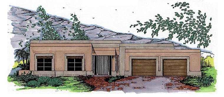 Santa Fe, Southwest House Plan 54615 with 3 Beds, 2 Baths, 2 Car Garage Elevation