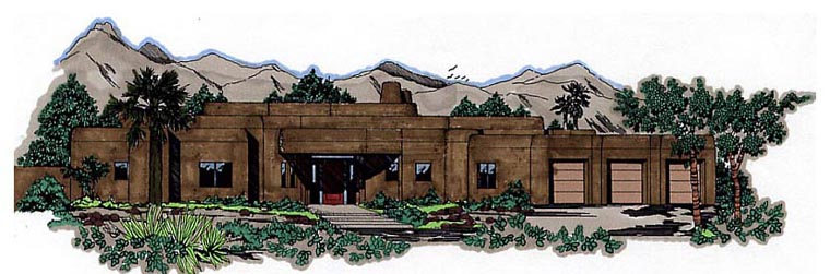 Santa Fe, Southwest House Plan 54619 with 3 Beds, 2 Baths, 2 Car Garage Elevation