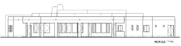 Santa Fe, Southwest House Plan 54619 with 3 Beds, 2 Baths, 2 Car Garage Rear Elevation