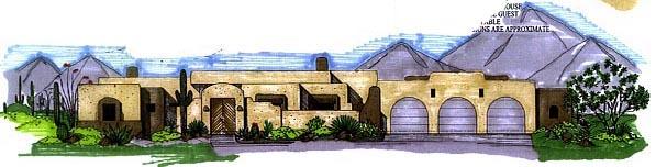 Santa Fe, Southwest House Plan 54626 with 3 Beds, 3 Baths, 3 Car Garage Elevation