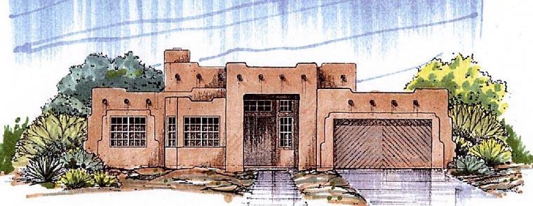 Santa Fe, Southwest House Plan 54678 with 4 Beds, 2 Baths, 2 Car Garage Front Elevation