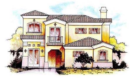 Mediterranean House Plan 54681 with 4 Beds, 4 Baths, 2 Car Garage Elevation
