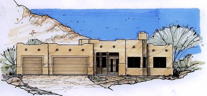 Santa Fe, Southwest House Plan 54682 with 3 Beds, 2 Baths, 3 Car Garage Elevation