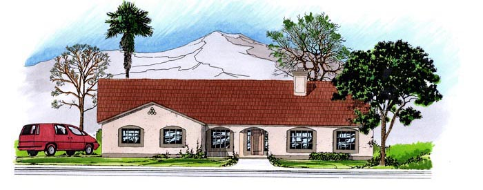 Contemporary, Southwest House Plan 54683 with 3 Beds, 3 Baths, 3 Car Garage Elevation
