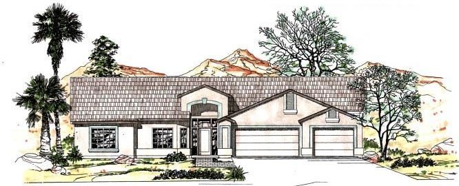 Contemporary, Southwest House Plan 54684 with 4 Beds, 3 Baths, 3 Car Garage Elevation