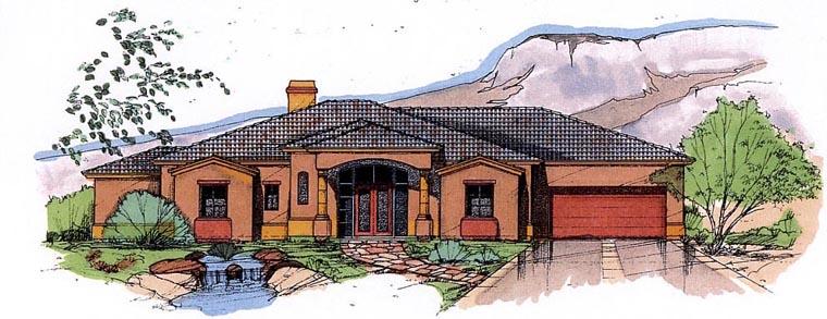 Mediterranean House Plan 54685 with 3 Beds, 2 Baths, 2 Car Garage Elevation