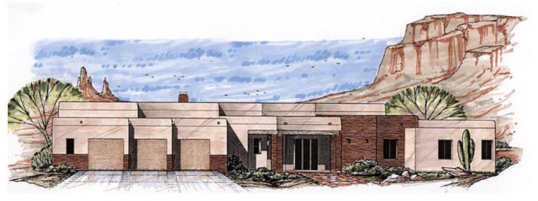 Santa Fe, Southwest House Plan 54687 with 3 Beds, 3 Baths, 3 Car Garage Elevation