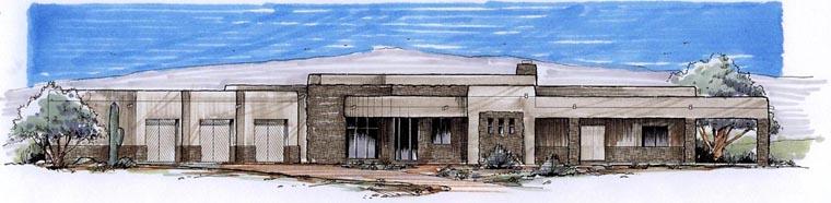 Southwest House Plan 54688 with 3 Beds, 3 Baths, 3 Car Garage Elevation