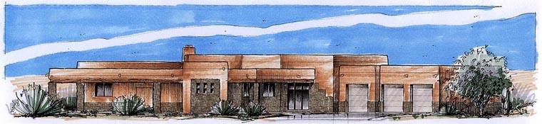 Santa Fe, Southwest House Plan 54689 with 3 Beds, 3 Baths, 3 Car Garage Elevation