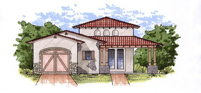 Mediterranean House Plan 54721 with 1 Beds, 1 Baths, 1 Car Garage Front Elevation