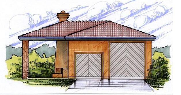 2 Car Garage Plan 54770, RV Storage Front Elevation