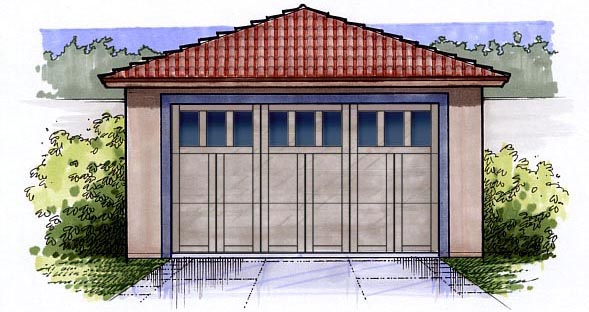 2 Car Garage Plan 54790 Elevation