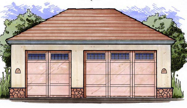 3 Car Garage Plan 54796 Front Elevation
