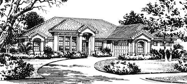 Florida, Mediterranean House Plan 54801 with 4 Beds, 3 Baths, 2 Car Garage Elevation