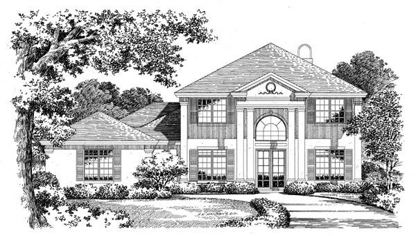 Colonial, Mediterranean House Plan 54817 with 5 Beds, 4.5 Baths, 2 Car Garage Elevation