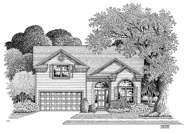 Traditional House Plan 54868 with 3 Beds, 2.5 Baths, 2 Car Garage Elevation