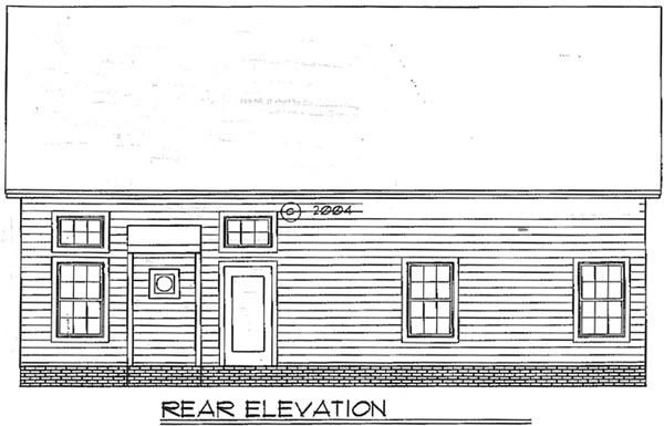Traditional House Plan 54868 with 3 Beds, 2.5 Baths, 2 Car Garage Rear Elevation